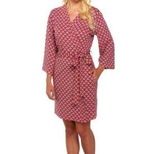 Vera Bradley | Pink Green Cotton Robe Size L/XL